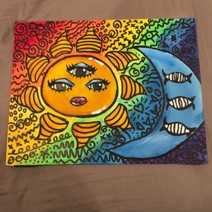 Trippy sun and moon, glows under black light